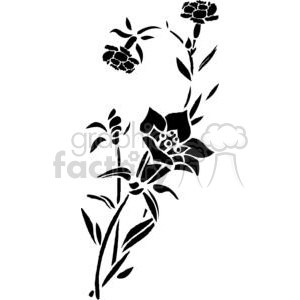62-flowers-bw clipart. Commercial use image # 380116