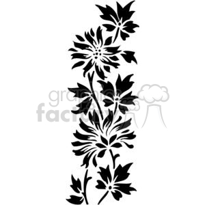 01-flowers-bw clipart. Commercial use image # 380136