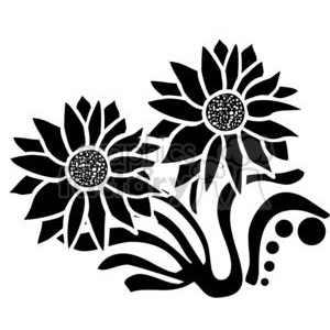 black and white lotus flower clipart. Commercial use image # 380156