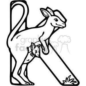 cartoon black white kangaroo k