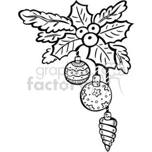 Christmas Xmas Holidays Happy Festive Black White cute funny cartoon vector royalty-free berries decoration ornament ornaments holly