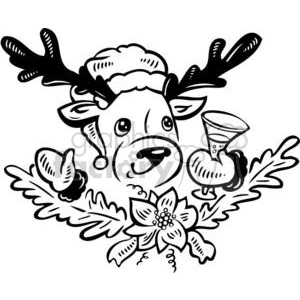black and white reindeer clipart. Commercial use image # 381146