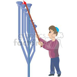 Jewish man lighting a huge Menorah clipart. Royalty-free image # 381492