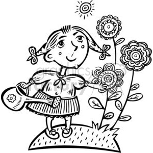 small girl watering her flowers clipart. Commercial use image # 381497