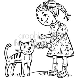 girl feeding her cat clipart. Commercial use image # 381502