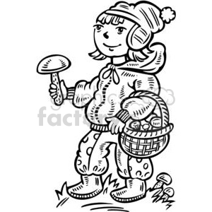 girl collecting mushrooms clipart. Royalty-free image # 381507