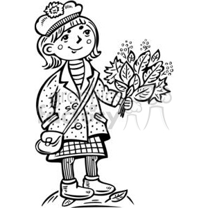 teenage girl holding a bouquet of leafs clipart. Commercial use image # 381512