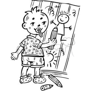 boy drawing pictures on wall clipart. Commercial use image # 381517