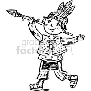 boy dressed up like an indian clipart. Commercial use image # 381522