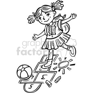 girl playing hopscotch clipart. Commercial use image # 381527