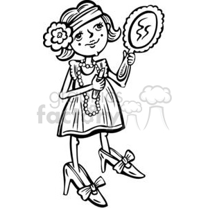 young girl putting makeup on clipart. Commercial use image # 381537