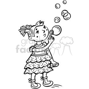cartoon children child kid kids people little black white girl girls bubble bubbles blow blowing small summer fun