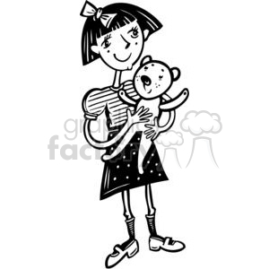 girl with her teddy bear clipart. Commercial use image # 381547