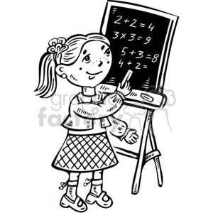 girl writing on a chalkboard clipart. Commercial use image # 381552