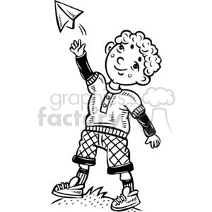 cartoon children child kid kids people little black white playing paper airplane airplanes