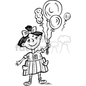 girl holding balloons clipart. Commercial use image # 381587