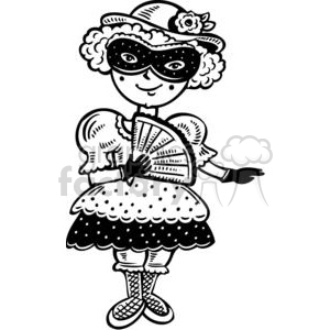girl dressed up with a Mardi Gra mask clipart. Commercial use image # 381592