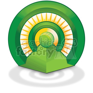 wireless pyramid signal with a sun behind clipart. Royalty-free image # 383913