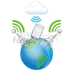 mobile wireless digital data RG cell phone tower signal cloud clouds transfer