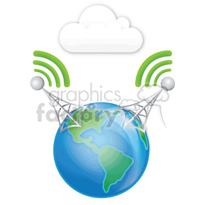 double cell tower earth clouds clipart. Commercial use image # 383943