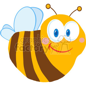 102572-Cartoon-Clipart-Cute-Bee-Cartoon-Character clipart. Commercial use image # 383968