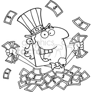 102525-Cartoon-Clipart-Uncle-Sam-Holding-Cash clipart. Commercial use image # 383973