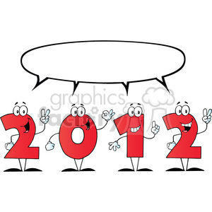2097-2012-New-Year-Numbers-Cartoon-Characters-With-Speech-Bubble clipart. Commercial use image # 383988