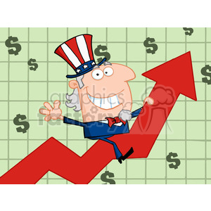 Cartoon Uncle Sam Riding Up On A Statistics Arrow of tax revenue clipart. Royalty-free image # 383998