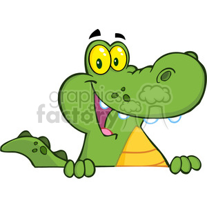 102532-Cartoon-Clipart-Aligator-Or-Crocodile-Over-A-Sign clipart. Commercial use image # 384003
