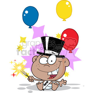 2481-African-American-New-Year-Baby-With-Fireworks-And-Balloons clipart. Commercial use image # 384023