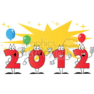 2099-2012-New-Year-Numbers-Cartoon-Characters-With-Stars-And-Balloons clipart. Royalty-free image # 384028