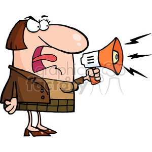 Cartoon Mad Woman Yelling Through Megaphone clipart. Commercial use image # 384038
