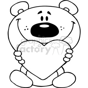2487-Teddy-Bear-Holding-A-Red-Heart clipart. Commercial use icon # 384058