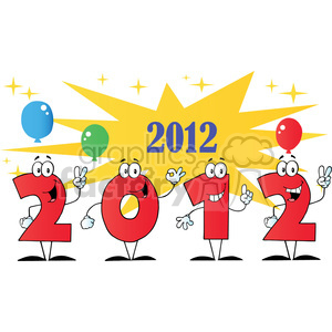 2100-2012-New-Year-Numbers-Cartoon-Characters-With-Stars-And-Balloons clipart. Royalty-free image # 384073