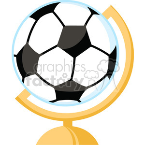 102551-Cartoon-Clipart-Globe-With-Soccer-Ball clipart. Commercial use image # 384093