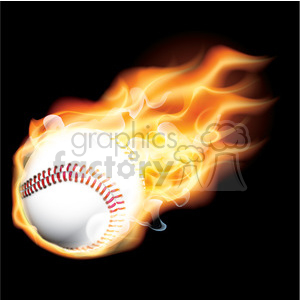 realistic RG vector clipart flaming fire flames hot burning burn baseball fireball winning