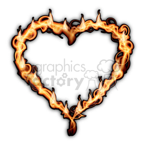 heart on fire on white