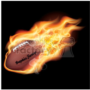 flaming football on black clipart. Commercial use image # 384108