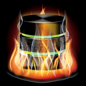 realistic RG vector clipart flaming fire flames hot burning burn database container fireball