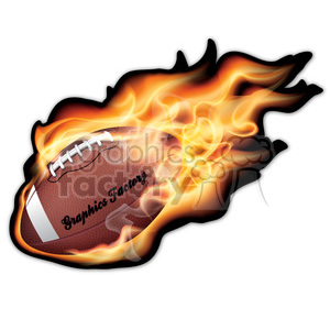 realistic RG vector clipart football flaming fire flames hot burning burn fireball