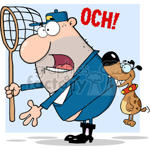 dog catcher character getting bit in the butt clipart. Royalty-free image # 384193