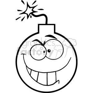 black-white-cartoon-bomb-character clipart. Commercial use image # 384238