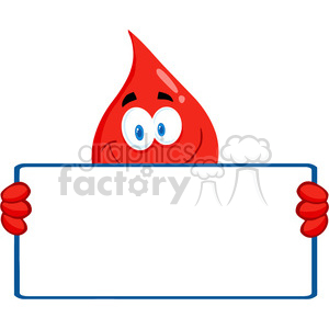 cartoon-blood-drop-with-blank-sign clipart. Royalty-free image # 384263
