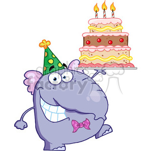 cartoon-elephant-birthday-cake clipart. Royalty-free image # 384278