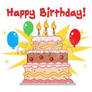 Cartoon Happy Birthday Cake Clipart
