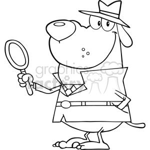 black white investigator cartoon hound clipart. Royalty-free image # 384306