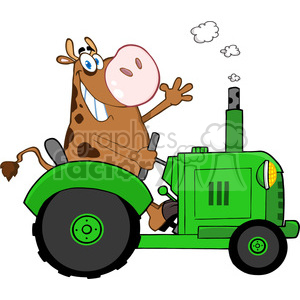 cow-character-on-green-tractor clipart. Commercial use image # 384366
