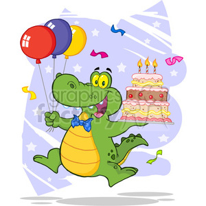 cartoon funny vector comic comical birthday party alligator