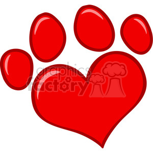 4782-Royalty-Free-RF-Copyright-Safe-Love-Paw-Print clipart. Royalty-free image # 384381
