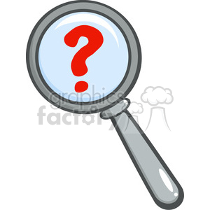 Royalty-Free-RF-Copyright-Safe-Magnifying-Glass-With-Question-Mark clipart. Royalty-free image # 384401